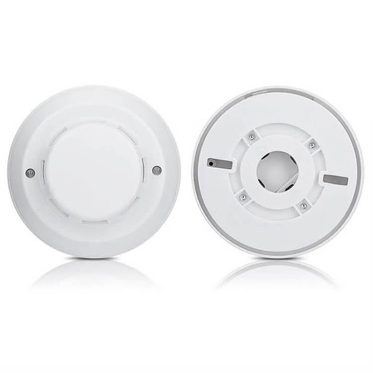 front and back of commercial smoke detector with types of smoke alarms