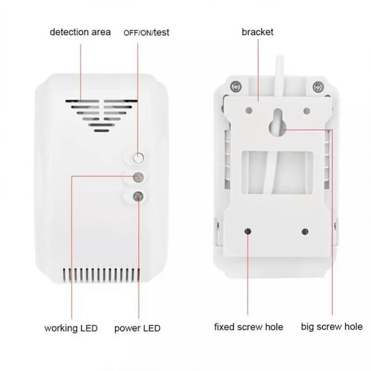front and back display of lpg gas sensor natural gas sensor