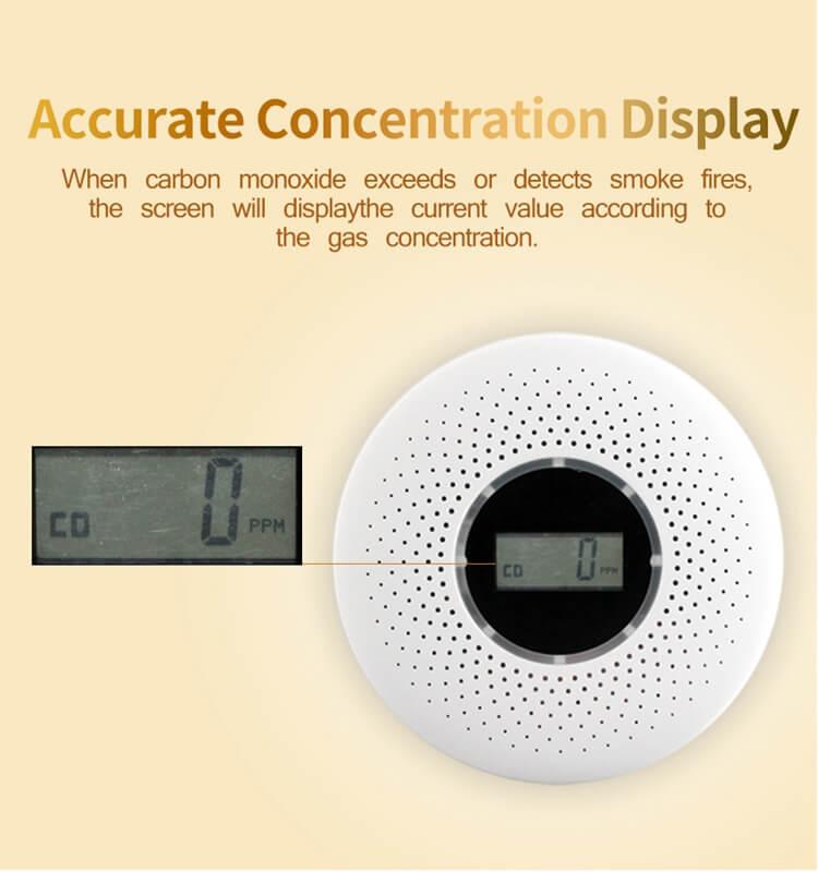 smoke co detector with display