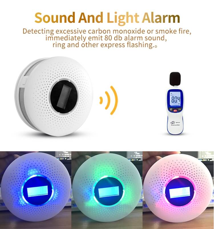 fire and carbon monoxide detector with led